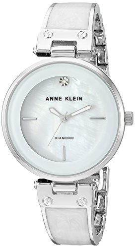Anne Klein Women's AK/2513WTSV Diamond-Accented Silver-Tone and White Marbleized Bangle Watch