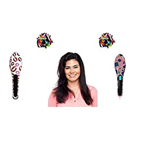 Pure Boutiques Fancy Straightening Brush with Bonus 60 Pack Ribbon Hair Ties (Americana)