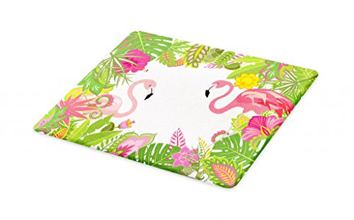 Lunarable Tropical Cutting Board, Summery Holiday Frame with Exotic Leaves Lily and Pink Flamingo Print, Decorative Tempered Glass Cutting and Serving Board, Small Size, Green Pink and Yellow
