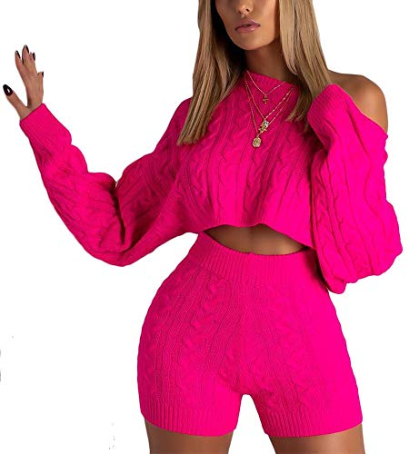 Cosygal Women's Casual Knit 2 Piece Outfit Long Sleeve Sweater Pullover Crop Top and Shorts Jumpsuit Dress Set Neon Pink Large
