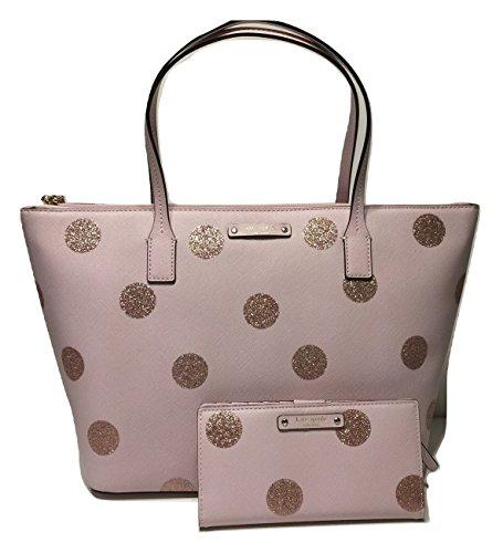 Kate Spade New York Haven Lane Hani WKRU4119 Pink Glitter Polka Dot plmdwn/dot (679) bundled with matching Stacy Wallet by Kate Spade New York (Image #9)