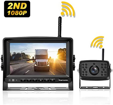 SAMFIWI Wireless Backup Camera System Kit Built in DVR with Stable Digital Signal 7 HD LCD Monitor and Waterproof Infrared Night Vision Rear View Camera for Truck//Trailer//RV//Pickups//Camping Car//Van