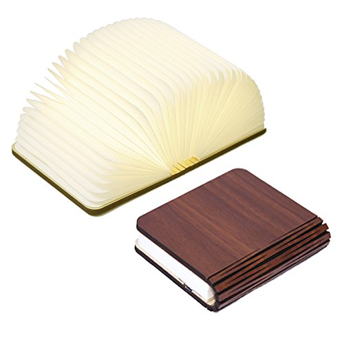 Innerest Night Light Wooden Book Folding Lamp Desk Table Home Décor Kids Bed Lighting (Maple Wood, Small)