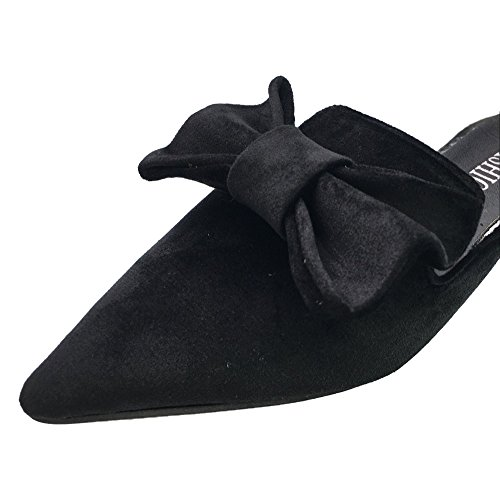 Mtzyoa Women Flat Bow Mules Pointed Toe Slip On Loafer Suede Slide Sandals Black by Mtzyoa (Image #3)