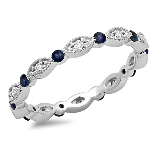 Gold Unique Diamond Eternity Band (DazzlingRock Collection 10K White Gold Round Blue Sapphire And White Diamond Ladies Wedding Eternity Stackable Band (Size 7))