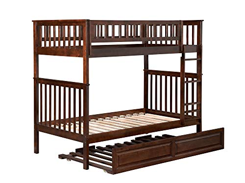 Atlantic Furniture AB56134 Woodland Bunk Bed with Twin Size Raised Panel Trundle, Twin/Twin, Walnut