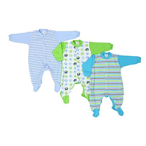 Baby Schlafstrampler Mädchen Schlafanzug 100% Baumwolle Jungen Schlafoverall im 3er PACK, Farbe: Junge, Größe: 68