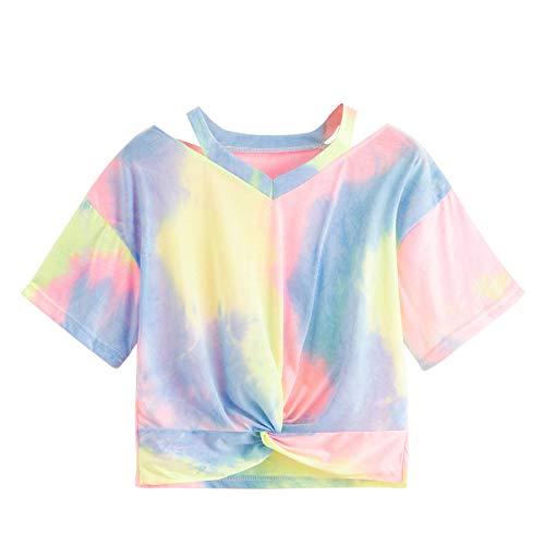 SweatyRocks Women's Twist Front Cut Out Short Sleeve Tie Dye Crop Top T-Shirt Multicolor #1 S