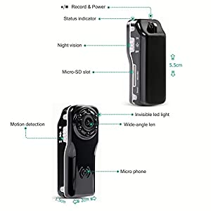 1080P Mini Portable Camera -ENKLOV Video Camcorder with Night Vision,Motion Detection,120 Degree Wide Angle Len,Indoor/Outdoor Use of Pocket DV