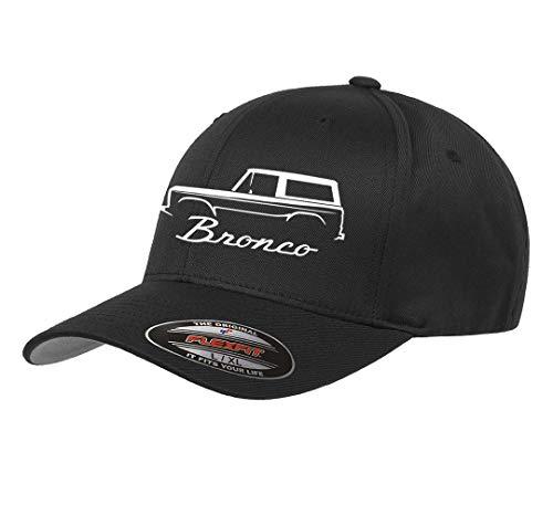 (1966-77 Ford Bronco 4x4 Classic Outline Design Flexfit hat Cap Large/XLarge Black)