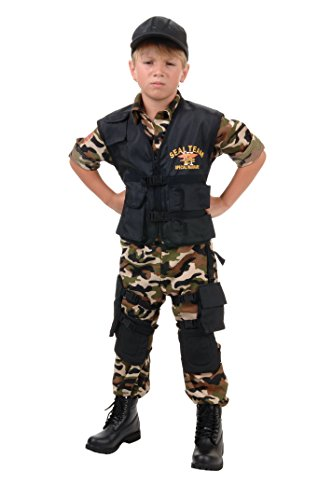 Underwraps Navy Seal Team Deluxe Kids Costume Camo/Black -