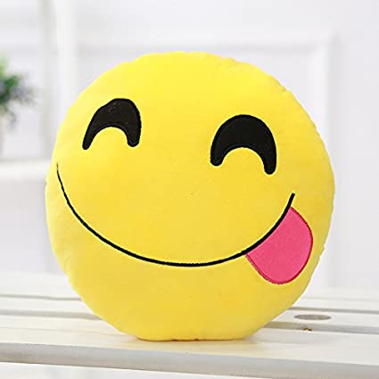 Tickles Sofa Smiley Emoticon Tongue Out Cushion Plush