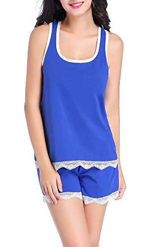Chamllymers Women's Soft Sexy Sleeveless Pajama Set Racerback Vest Stretch Shorts Blue L