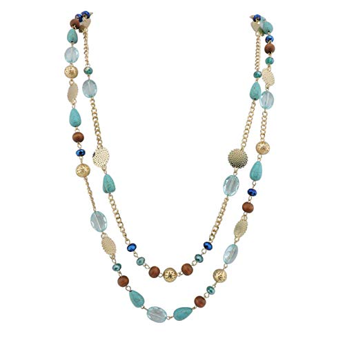 Bocar 14K Gold Plated Link Chain 2 Layer Crystal Wood Acrylic Colorful Women Party Long Necklace Gift (10084-blue) ()