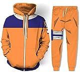 Naruto Uzumaki Hoodie Jogger Pants Anime Halloween Cosplay Costume Orange XS
