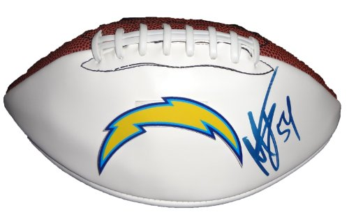 Melvin Ingram Autographed San Diego Chargers Logo Football W/PROOF, Picture of Melvin Signing For Us, San Diego Chargers, South Carolina Gamecocks, 2012 NFL Draft, Top (Nfl Autograph Signings)