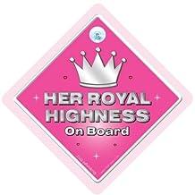 DRIVING iwantthatsign.com Her Royal Highness Car Sign, Hrh Car Sign,Hrh, Bumper Sticker, Decal, Royal Family, Royals, Royalty Sign, Joke Car Sign, Princess Car Sign
