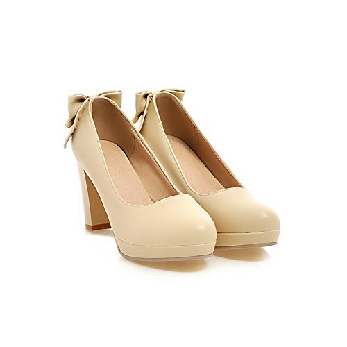 AmoonyFashion Womens Pull-on PU Round Closed Toe High-Heels Solid Pumps-Shoes Beige Sh0QhN05