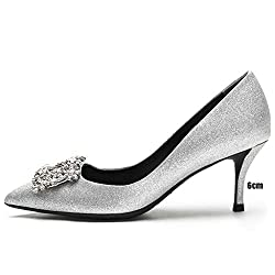 Women's Pointed Toe Crystal Rhinestone Buckle Shoes