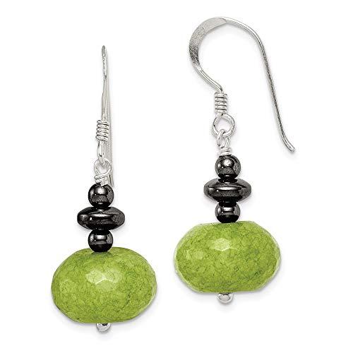 925 Sterling Silver Green Jade Hematite Drop Dangle Chandelier Earrings Fine Jewelry Gifts For Women For Her