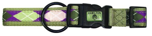 Hamilton Highland Collection Adjustable Dog Collar, 1-Inch by 18 to 26-Inch, Argyle/Sage