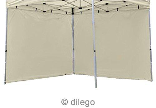 Nexos 2 hochwertige Seitenteile Seitenw/ände Seitenplanen ohne Fenster f/ür PROFI Falt-Pavillon Partyzelt 3 m champagner