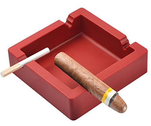 OILP Large Ashtray for Cigars Big Cigarettes Ashtrays Outdoor Ashtray 4 Dual-use Rest Unbreakable Silicone Ashtray for Patio Outdoor Indoor Ashtray Home Decoration (Red) ()