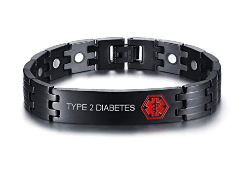 Stainless Steel Black Ion Plated Type 2 Diabetes Medical Alert ID Magnetic Therapy Bracelets for Men (Black Medical Bracelet Id)