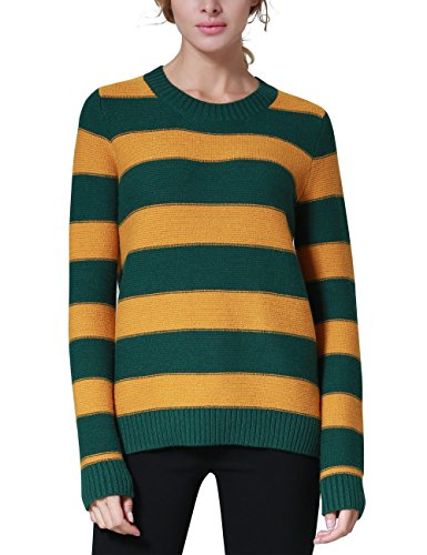 Yellow Stripe Sweater - Rocorose Women's Unisex Stripe Crewneck Loose Sweater Jumpers Green&Yellow M