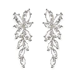 Make that special occasion unforgettable with Ciccii's stunning shimmering cubic zirconia cluster earrings.       Featuring dozens of glistening prong-set marquis-cut cubic zirconia gems. These best-selling cluster earrings are truly o...