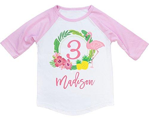 Happy Lion Clothing - Toddler Girl Tropical Flamingo Birthday Shirt 3/4 Raglan Baseball Tee -