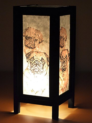 Thai Vintage Handmade ASIAN Oriental Collectible Pet Pug Dog Lover Gifts Bedside or Table Lamp Shades by Thai Lanna Lump
