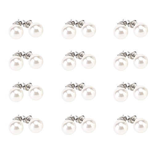 LEILE 12 pairs White Assorted Mixed Wholesale Lot Glass Pearl Earrings Studs Christmas Gift Set Stainless Steel Ping for kids girls (8mm)