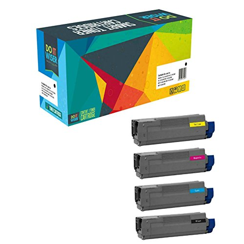 Do it Wiser 4 Pack Compatible Toner Cartridges for Oki C712 C712dn C712n (46507604 46507603 46507601 46507602) (Printer Oki Cartridges Laser)