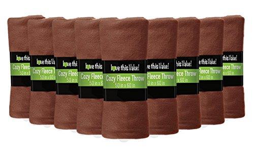"12 Pack Wholesale Soft Comfy Fleece Blankets - 60"" x 50"" Coz"