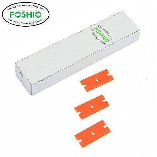 FOSHIO 200Pcs 1.5'' Plastic Razor Blades for Safety Titan Scraper, Double Edged Plastic Scraper Blades Remove Decals/Stickers/Adhesive Label/Clean Glass by FOSHIO (Image #2)