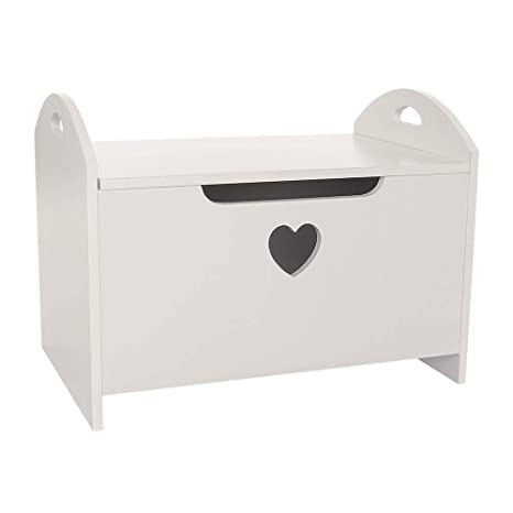 Admirable Wido White Childrens Toy Box Heart Decoration With Seat Ottoman Storage Bench Kids Play Room Furniture Nursery Wooden Ocoug Best Dining Table And Chair Ideas Images Ocougorg