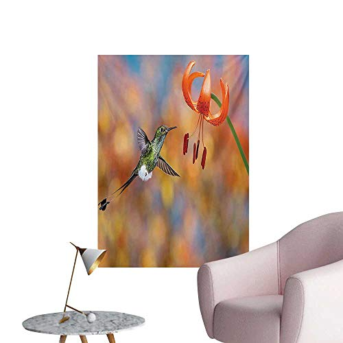Anzhutwelve Hummingbird Photographic Wallpaper The Booted Racket Tail Feeding Nectar from Tiger Lily Blur Background PhotoOrange Green W24 xL36 Funny Poster ()