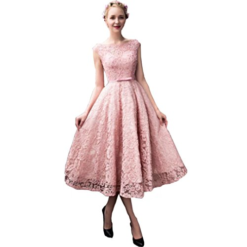 DingdingMail Elegant Tea Length Blush Pink Lace Prom Dresses 2017 Cap Sleeves A-line Party Gowns with Bow by DingDingMail