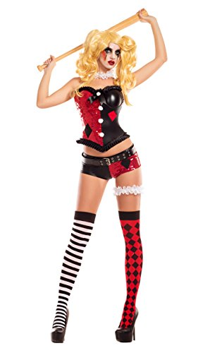 Party King Women's No Good Harlequin Costume, red/Black Large ()