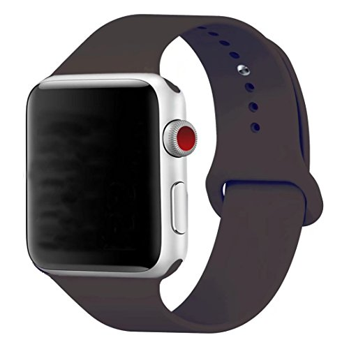 Price comparison product image Band for Apple Watch 38mm, Guangzhi New Design (Metal Tuck Clasp Ouside/Correct Wearing Way in 4th Image) Soft Silicone Sport Strap Band for iWatch Series 1 / 2 / 3, Sport, Edition,38mm,Cocoa