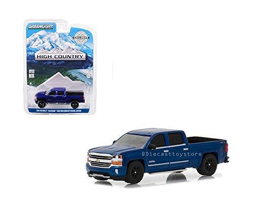 Greenlight 2018 Chevy Silverado 1500 Crew Cab High Country, Deep Ocean Blue 29938/48-1/64 Scale Diecast Model Toy Car - Ocean Blue Car