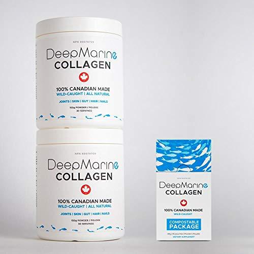 DeepMarine Collagen 100% Canadian Made Collagen Peptides, Wild-Caught  Collagen Powder, Hydrolyzed Marine Collagen- 60 day supply + 10 x 5g