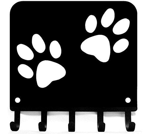 The Metal Peddler Paw Print Key Rack Hanger & Dog Leash Organizer - Small 6 inch Wide