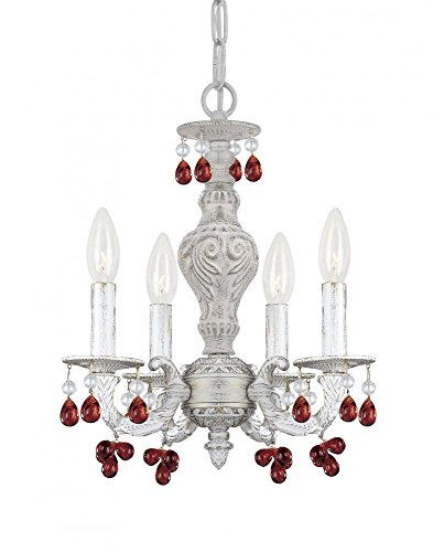 (Crystorama 5224-AW-AMBER Crystal Accents Four Light Mini Chandelier from Paris Market collection in Whitefinish, 13.50 inches)