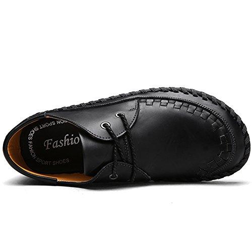 Lakerom Hommes Mocassins Chaussures Pour Hommes Glisser Sur Des Chaussures En Cuir Casual Chaussures Noir3