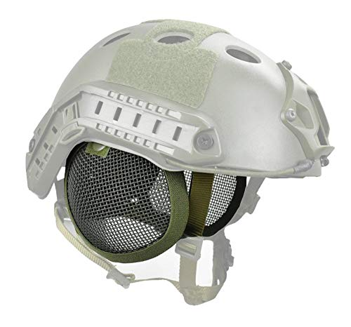 JFFCESTORE Tactical Airsoft Military Paintball Metal Mesh Side Cover Ear Protection for Fast Helmet (Not Including Helmet)(Green)