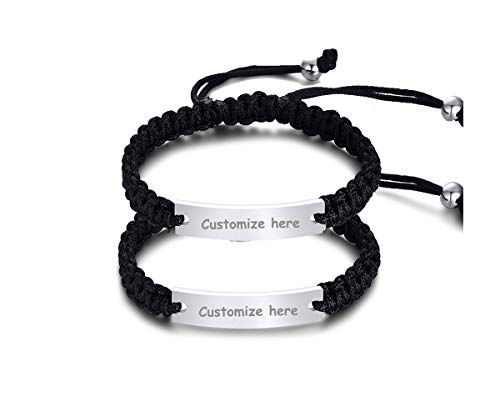 Personalized Handmade Braided Rope ID Plate Couples Bracelets for Women Men Friendship