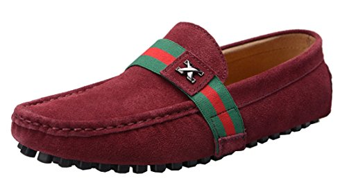 TDA Mens Stylish Casual Low Cuff Slip On Blue Leather Boat Shoe Wine Red oPY8a