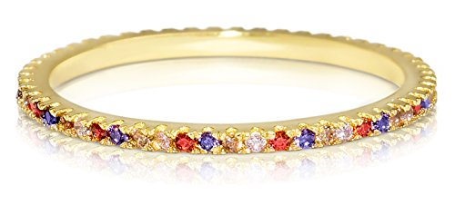 14k Gold Eternity Stackable Ring: Thin Band Multicolor Cubic Zirconia CZ Promise Rings (Size 6) Colored Stone Ring